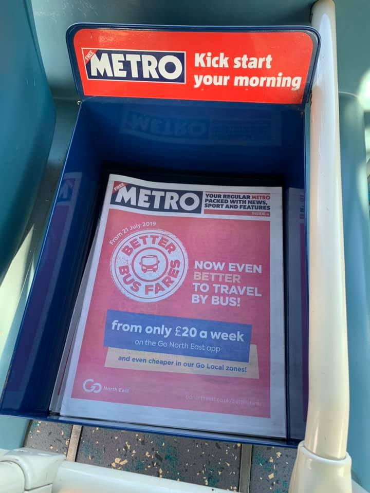 Metro newspaper with a front-page advertisment wrap for Go North East's 'Better Bus Fares' campaign.