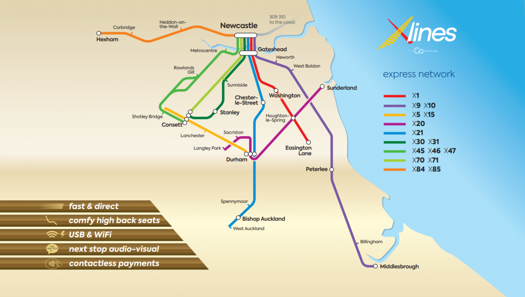 Map showing the Go North East X-lines network.