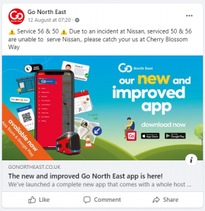 Screenshot showing a Facebook post from Go North East at 07.20 on the 12th August.