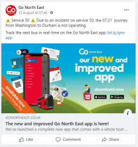 Screenshot showing a Facebook post from Go North East at 07.40 on the 12th August.