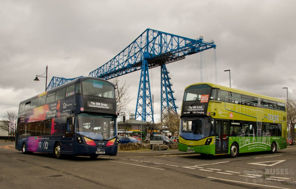 Go North East Wright Eclipse Gemini 3 and a Wright Streetdeck parked with the Transporter Bridge in the background.