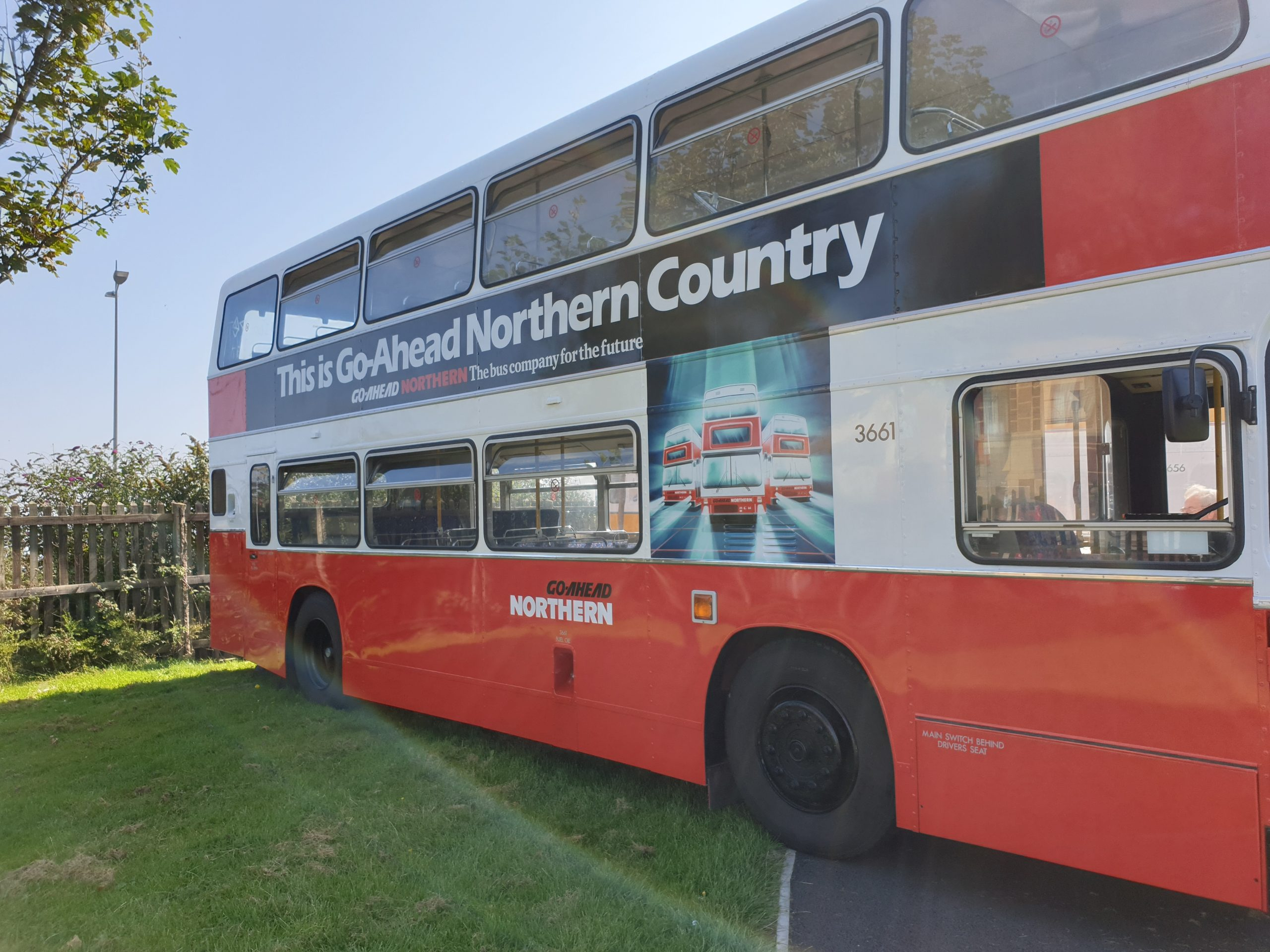 'Go Ahead Northern: The bus company for the future' advert, as seen on the stunningly restored Leyland Olympian 3661.