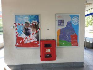 Broken information board holdings at Washington Galleries bus station