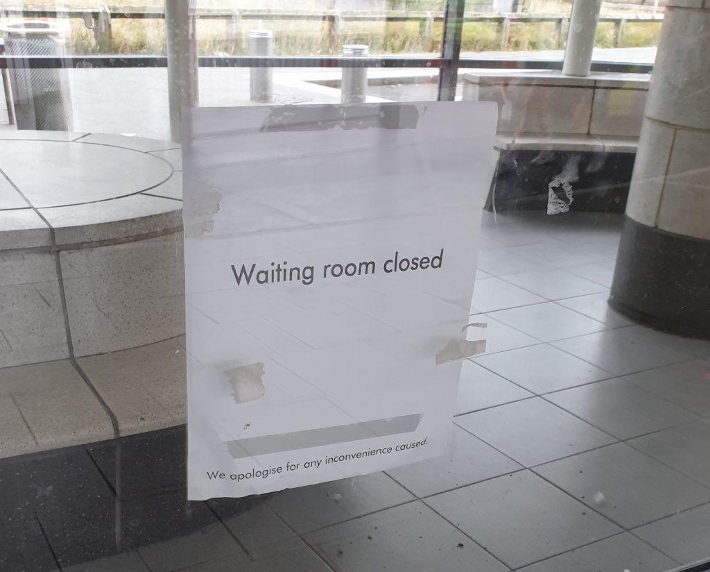 Closed waiting room sign at Park Lane