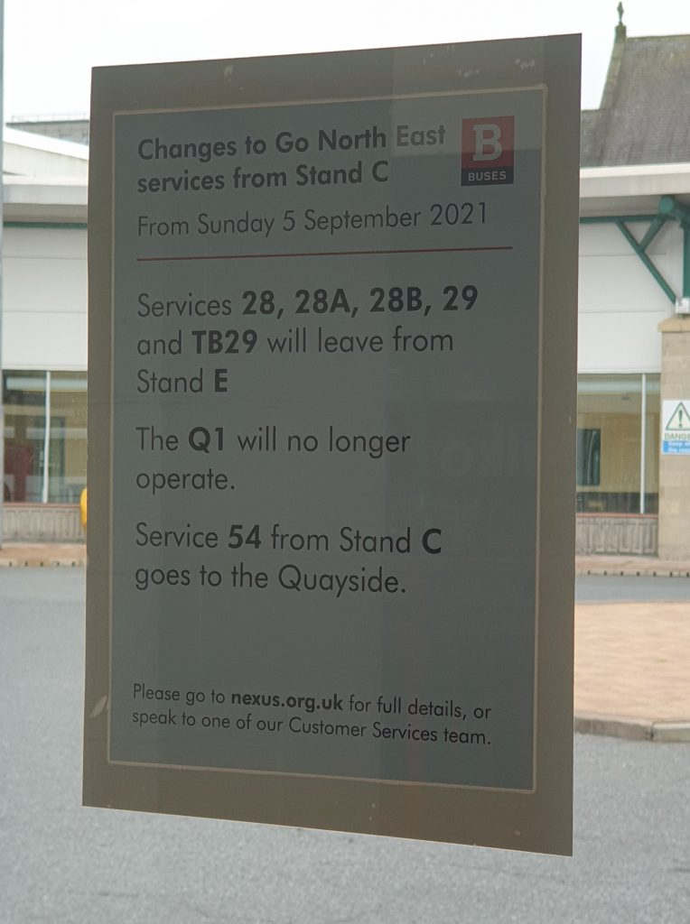 A4 poster stuck to the window of Stand C at Gateshead