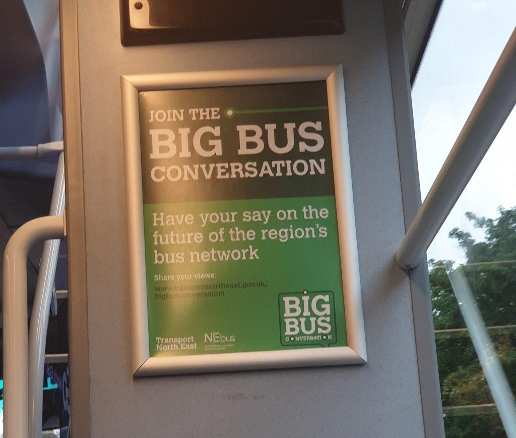 'Big Bus Conversation' poster on board one of the Angel Streetdecks