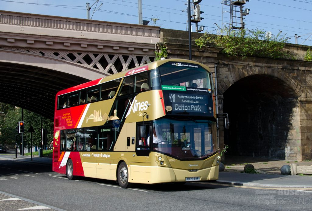 An Xlines X1 branded Streetdeck is seen departing Newcastle, with the new X1 link to Dalton Park